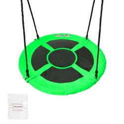 """Tickly-Toe 100cm 40"""" Green Round Tree Swing with 160cm Straps [TT-SA-071G-TT-TRAPS]"""