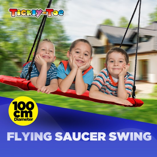 """Tickly-Toe 100cm 40"""" Red Round Tree Swing with 160cm Straps [TT-SA-071R-TT-TRAPS]"""